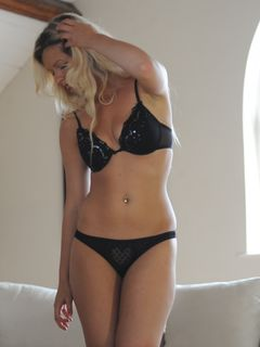 Raylene Richards takes off her sexy black lingerie